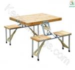 میز و صندلی آلومینیومی و چوبی تاشو خودرو